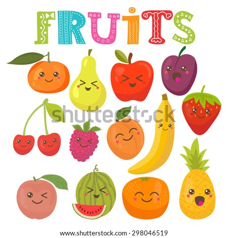 cute kawaii smiling fruits