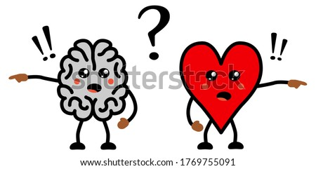 Cute Kawaii style disagreeing brain and heart icon, emotions and rational thinking conflict concept Photo stock ©