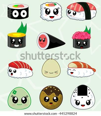 cute kawaii sushi set for