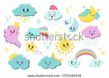 Cute kawaii weather icons. Clouds, rain, sun, stars, lightning, rainbow. Japanese cartoon manga style. Funny anime characters. Trendy vector illustration. Every icon is isolated on background EPS