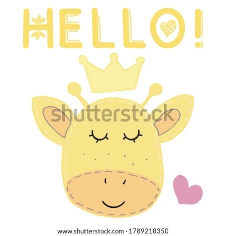 cute kawaii yellow giraffe face