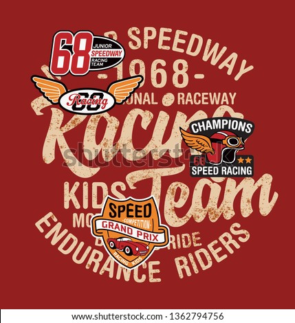 Cute kid driver speedway racing team abstract vector print for children wear with applique patches grunge effect in separate layer