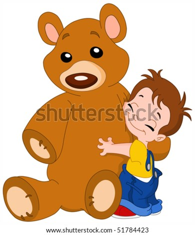 Cute kid hugging his big teddy bear