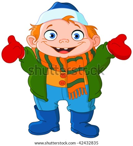 Cute kid in winter