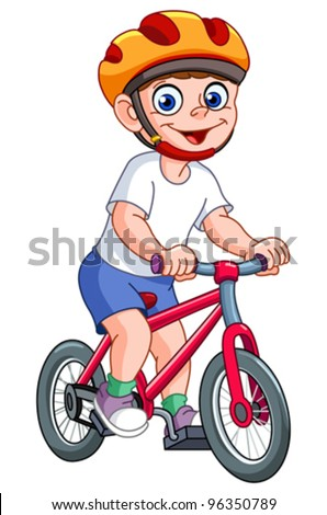 Cute kid riding his bicycle - stock vector