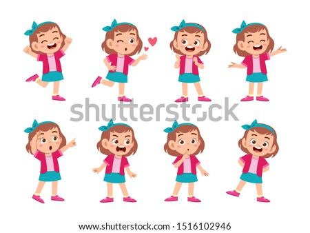 cute kid with many gesture expression set