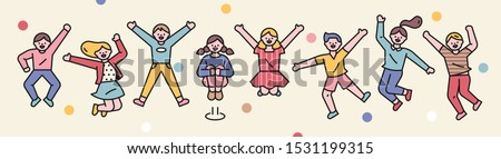 Cute kids are jumping. flat design style minimal vector illustration.