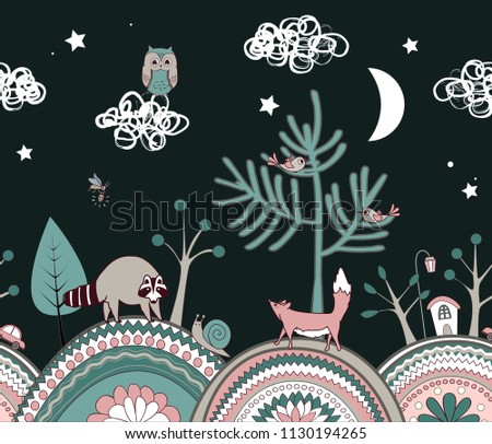 Stock Photo Cute kids background. Fairy night