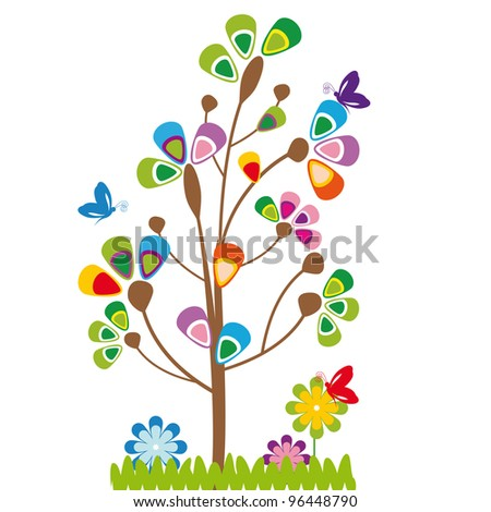 Cute kids cartoon with tree and flowers - stock vector