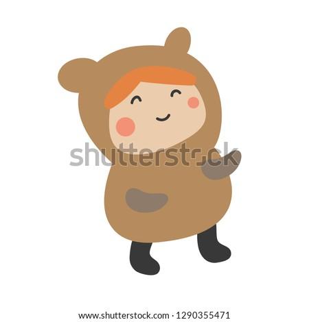 Cute Kids Character. Vector illustration kid wearing animal costumes. Bear costume child.
