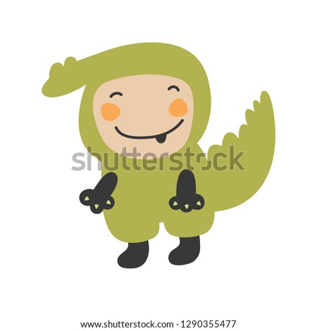 Cute Kids Character. Vector illustration kid wearing animal costumes. Crocodile costume child.