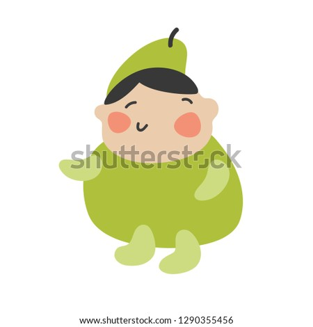 Cute Kids Character. Vector illustration kid wearing fruit costumes. Pear costume child.