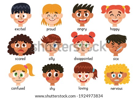 Cute kids emotions collection. Child different emotional expressions bundle. Learning feeling poster for school and preschool. Faces of boys and girls. Vector illustration