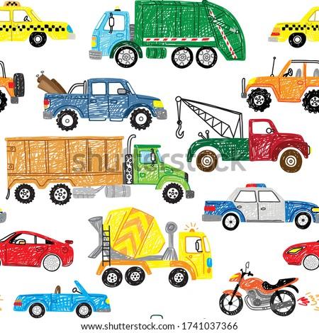 cute kids hand drawn doodle truck car transport boy seamless pattern
