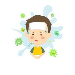 cute kids having cold and flu symptoms vector