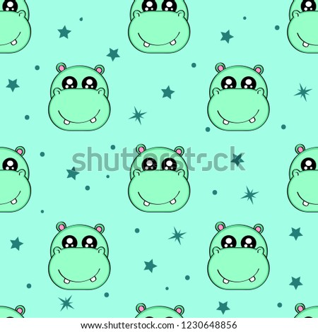 Cute kids hippo pattern for girls and boys. Colorful hippo, stars on the abstract background create a fun cartoon drawing. The hippo pattern is made in neon colors. Urban pattern for textile