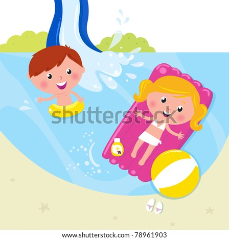 Cute kids in pool with fresh water. Vector Illustration.