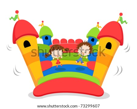 Cute Kids jumping on a bouncy castle