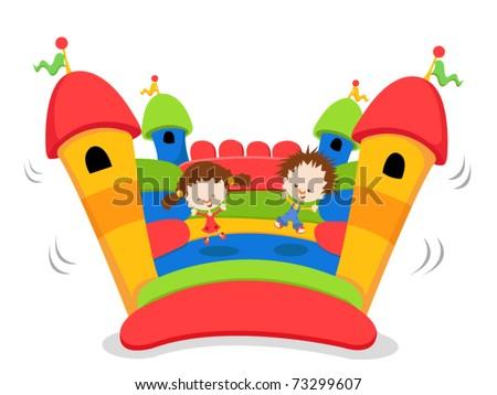 Cute Kids jumping on a bouncy castle