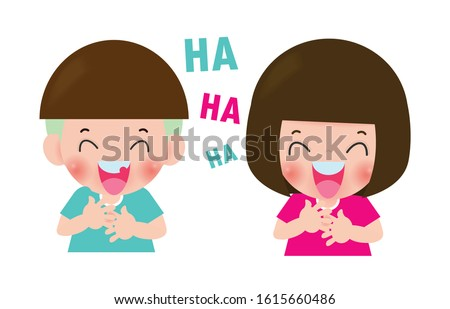cute kids laughing together, Children laugh funny. boy and girl cartoon character Isolated on white background Vector illustration. stock photo