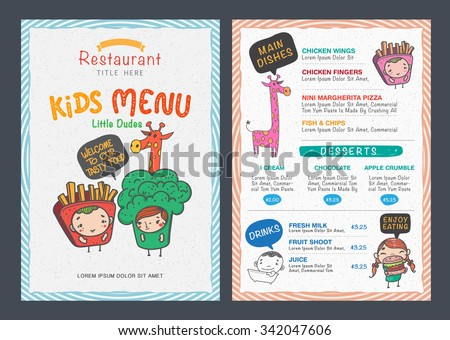 Cute Kids Menu Vector Template  Kids Menu Templates