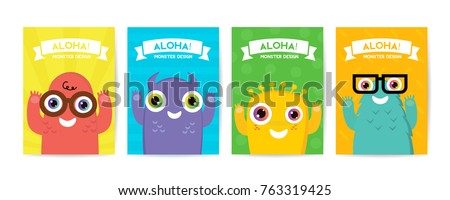 Cute kids Monster cover and packaging design set vector illustration