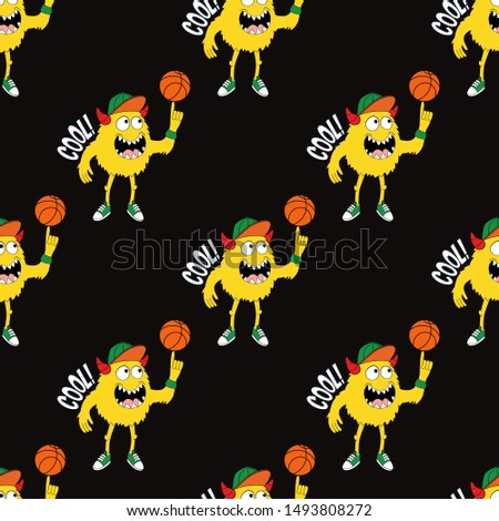 Cute kids monster pattern for girls and boys. Colorful basketball monster bright background. The monster pattern is made in bright colors. Urban kids pattern for textile and fabric