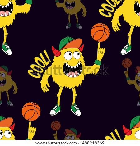 Cute kids monster pattern for girls and boys. Colorful basketball monster on the abstract bright background. The monster pattern is made in bright colors. Urban kids pattern for textile and fabric