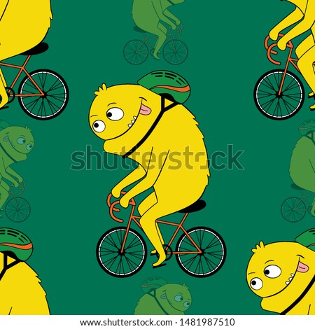 Cute kids monster pattern for girls and boys. Colorful cyclist monster on the abstract bright background. The cyclist monster pattern is made in bright colors. Urban pattern for textile and fabric