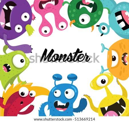 cute kids monster vector