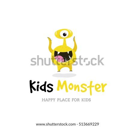 cute kids monster vector logo