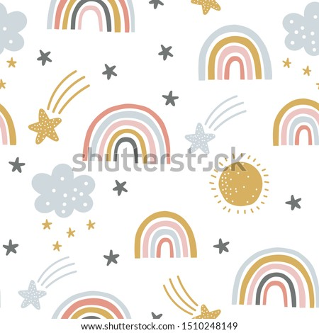 Cute kids nursery rainbow seamless pattern repeat, clouds, stars, sunshine scandinavian print fun & pastel colours mono