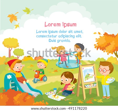 Cute kids  playing and drawing pictures outside