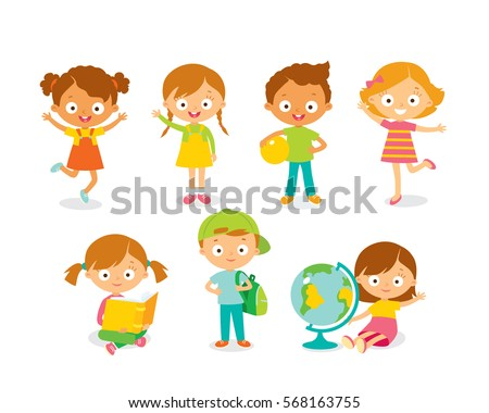Cute kids playing and learning