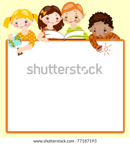 cute kids read and draw on green background. place for your text.