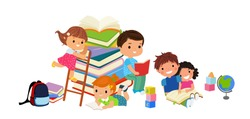 Cute kids reading book, children with books, Happy Children while Reading Books, Vector Illustration on white background. education concept