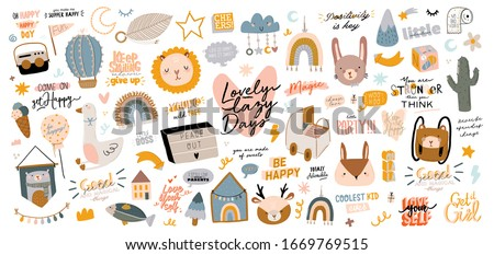 Cute kids scandinavian characters set including trendy quotes and cool animal decorative hand drawn elements. Cartoon doodle  illustration for baby shower, nursery room decor, children design. Vector.
