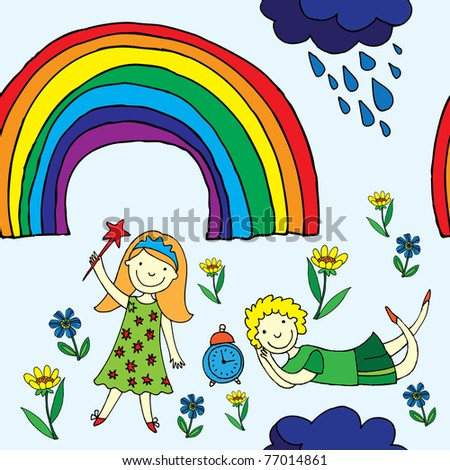cute kids seamless patten with rainbow