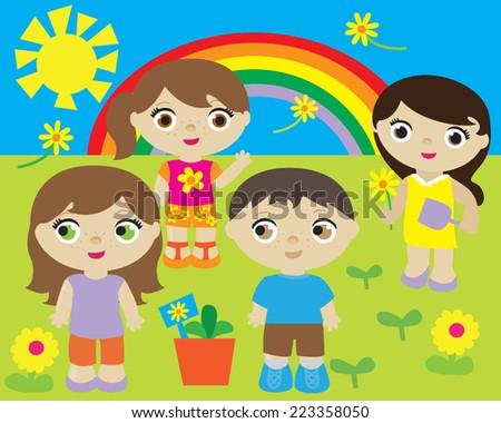 cute kids spring gardening day