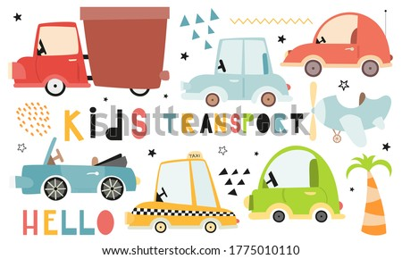 Cute Kids transport set on white background. Hand drawn. Doodle cartoon cars for nursery posters, cards, t-shirts. Vector illustration. Car, taxi, cabriolet.