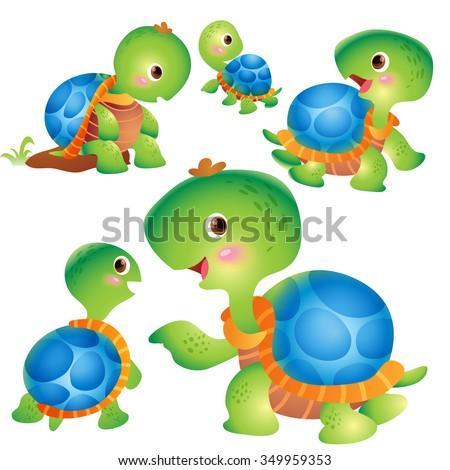 cute kids turtle cartoon vector