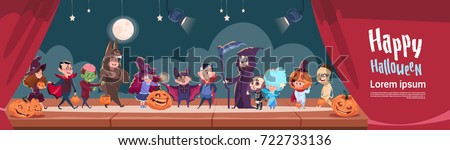 Cute Kids Wear Monsters Costume, Happy Halloween Banner Party Celebration Flat Vector Illustration