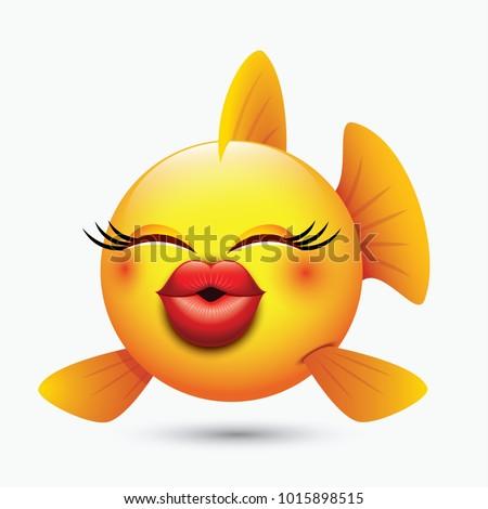 cute kissing fish emoticon