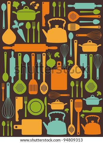 cute kitchen pattern. vector illustration - stock vector