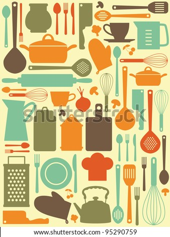 cute kitchen pattern vector illustration