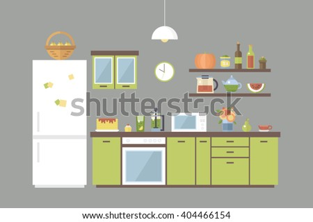 Cute Kitchen Set Home Interior Different Colorful Objects Tea Fruits
