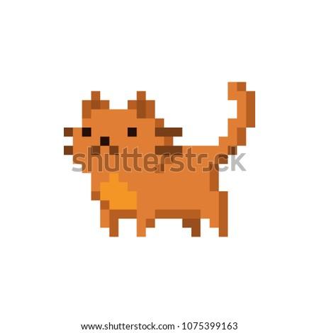 Cute kitten domestic pet pixel art - isolated vector illustration