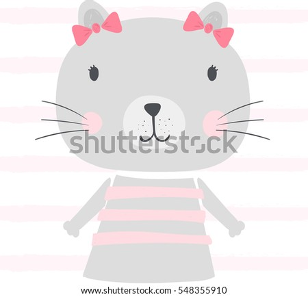 cute kitten illustration with