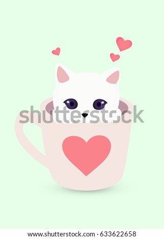 cute kitten in a cup with heart