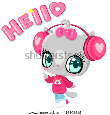 Cute kitten with headphones. Cat listening to music. I love music. Children's character. Inscription hello.